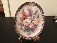 Lena Liu Floral Cameos Oval Plate Rememberance Bradford Exchange Flowers-Mint!