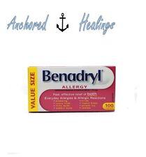Benadryl Allergy Diphenhydramine Hydrochloride 25mg 100 Caplets Expires Apr.2019