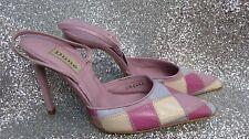 Ladies DUNE leather PINK patchwork summer high heel slingback Size 4 EU 36