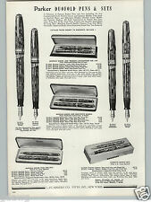 1941 PAPER AD Parker Duofold Fountain Pen Sets Norma Pencil Colors