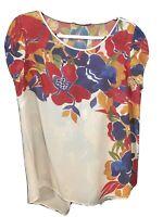 Desigual Ladies Floral  Multi Color Top  - Faux Open Back - Size Large