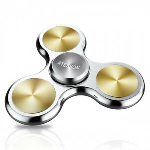 (A-Silver-Solid) - ATESSON Fidget Spinner Toy 4-10 Min Spins Ultra Durable