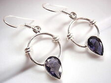 Faceted Iolite Round Earrings 925 Sterling Silver Rope Style Accents Hoop Dangle