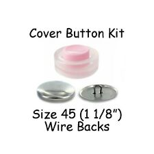 Size 45 (1 1/8 inch) Cover Buttons Starter Kit (makes 6) with Tool - Wire Backs