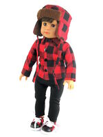 3 PC Red Plaid Shirt Hat & Pants Doll Clothes For 18 Inch American Girl or Boy