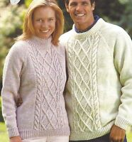 """Aran Sweater Knitting Pattern Ladies and Mens with Diamond cable 30-52"""" 796"""