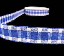 """5 Yd SALE Royal Blue White Plaid Ribbon 5/8""""W"""
