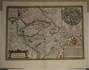 LIMOGE LIMOUSIN FRANCE 1594 JEAN FAYEN UNUSUAL ANTIQUE COPPER ENGRAVED MAP