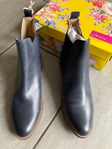 Joules Ladies Blue Suede/Leather Flat Ankle Boots Size 8. BNWT RRP £140.