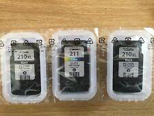 Genuine OEM Canon CL-211 Color Ink w/ PG-210XL Black 3 Pack Sealed Ink