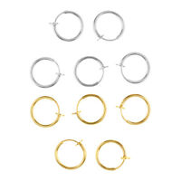 10pcs Fake Nose Lip Ear Rings Non-pierced Hoop Loop Ring Gold/Silver Mixed