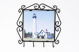 New Presque Isle Michigan Lighthouse Key Rack, Wrought Iron