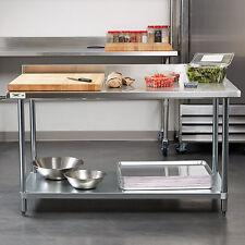 30 X 60 Stainless Steel Work Prep Shelf Table Backsplash Commercial 18 Gauge
