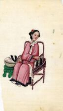 More details for antique 19th-century chinese pith painting, qing dynasty seated woman sewing