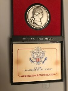 Washington Boston Pewter Medal -America's First Medals US Mint And Case