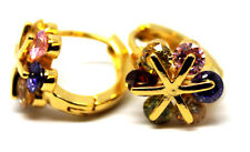 Girls Women's 18K Gold Filled W/ Flower CZ Gem Hoop Huggie Earrings Jewellery
