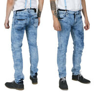 Men's Bleached Marble Wash Skinny Leg Stretch Denim Skins Punk 28 To 40 Jeans