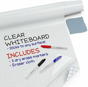 Clear Whiteboard Contact Paper 8 Feet - Wall Sticker Roll + 3 Dry Erase Markers