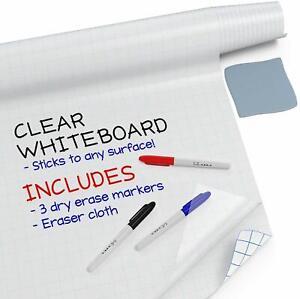 Large Dry Erase Board Wall Sticker (Clear, 6.5 Feet) + 3 Whiteboard Markers