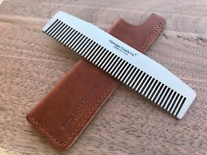 Chicago Comb No. 3 + English Tan Horween leather sheath, Made in USA, save $11