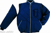 Delta Plus Panoply New Delta Navy Blue Mens Quilted Bomber Jacket Coat Work Coat