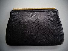 Vintage Mayer New York ~ Black Reptile Textured Purse Clutch ~ Gold Bar Clasp