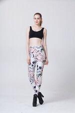 Skull,Pink Roses Digital Printing Leggings Tights Yoga Workout Pants - Lift the