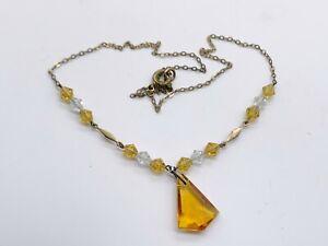ANTIQUE VINTAGE 9ct ROLLED GOLD CITRINE GLASS BEAD LADIES NECKLACE PENDANT