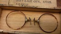Antique Pinc-Nez optical frame in wood mailing box