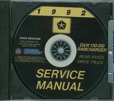 1992  DODGE TRUCK SHOP/BODY  MANUAL ON CD-COVERS  D & W 150-350 RAMCHARGERS