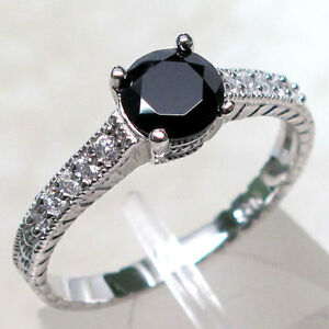 CLASSY 1 CT BLACK ONYX 925 STERLING SILVER RING SIZE 5-10