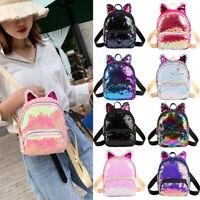 Cute Glitter Girls Sequins Cat Ears Zipper Backpack School Bag Travel Pouch Prec