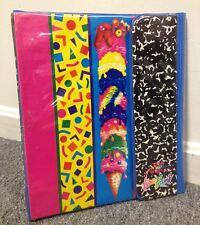 1989 Fantastic World Lisa Frank TRIFOLD 3-Ring Binder + 2 FOLDERS Vintage WOW