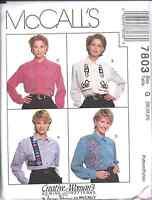 7803 UNCUT McCalls SEWING Pattern Misses Blouse Shirt Top Nancy Zieman Creative
