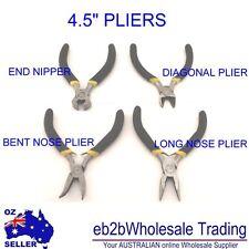 """4 PC MINI PLIERS SET 4-1/2"""" BENT NOSE / LONG NOSE / END NIPPER / DIAGONAL PLIERS"""