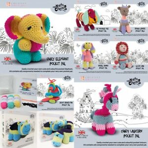 Knitty Critters Pocket Pals Crochet Kits Complete Kit: toy stuffing, yarns, hook