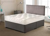 CHARCOAL DIVAN BED SET + MEMORY MATTRESS + HEADBOARD 3FT 4FT 4FT6 Double 5FT