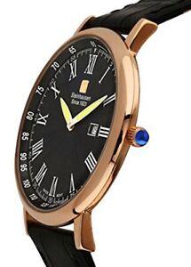 Steinhausen Men's Swiss Quartz Rose Gold Tone S. Steel Black Leather Watch S0120