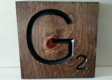 "1 Large Scrabble Tile ""G"" Wooden Letter Wall Decor Hanging 8""x 8"" Wall Art Decor"