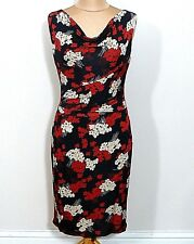 A19 Phase Eight Black Red Cream Floral Print Evening Dress Uk Size 12