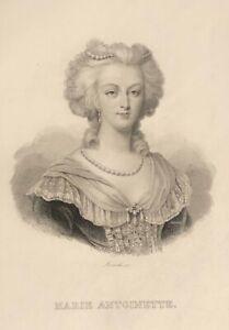 Marie-Antoinette d'Autriche Reine de France épouse du roi Louis XVI gravure 1836