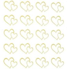 2 Sheets Gold Foil Hearts Stickers Papercraft Planner Supply Wedding Seal Love