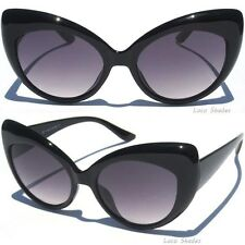 CAT EYE SUNGLASSES BLACK Bold Frame Retro Hipster Classic Vintage Style Sunnies