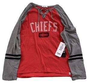 Kansas City Chiefs Womens Size XL 47 Brand Longsleeve Shirt NFL Red Gray Lace-Up