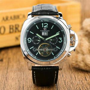 FORSINING Tourbillon Men's Self-Wind Mechanical Watch Date Display Steel Case