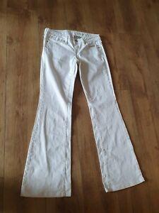 "Ladies Mango MNG Jeans EUR 38 UK W32"" White 98% Cotton Bootcut Jeans"