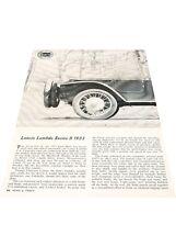 1960 1923 Lancia Lambda Series II Original Car Review Print Article J411