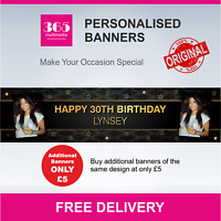 Large Personalised Birthday Banner - Name and Photo 18th 21st 30th 40th - D016