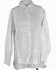 Silhouettes Woman White Embroidered Patchwork L/S Button-up Shirt Size 4X $59