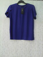 BNWT SIZE 14  BLUE SHORT SLEEVED TOP WITH DOBBY PRINT  BY MARKS & SPENCER
